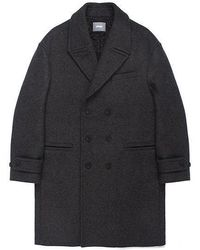 W Concept - Oversize Double Wool Coat Charcoal - Lyst