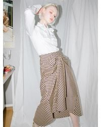 CLUT STUDIO 0 8 Check Tied Full Skirt - Metallic