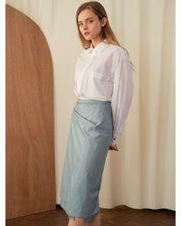 a.t.corner Eco Leather Skirt Light Blue
