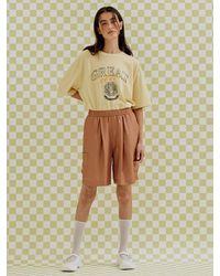 a.t.corner Satin Fluid Boxer Trousers () - Brown