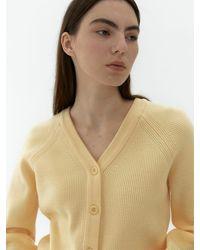 38comeoncommon V-neck Line Ribbed Cardigan (yellow)
