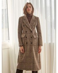 YAN13 Breasted Wool Ch Coat - Brown