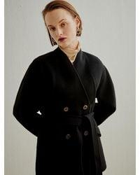 a.t.corner Collarless Belted Cashmere Blend Coat - Black