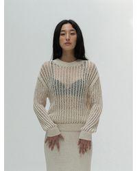 Amomento Crochet Pullover - White