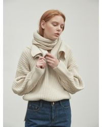 NILBY P - Two Way Wool Pullover Muffler Set Ivory - Lyst