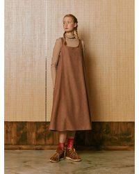 NEUL Colour Block Wool Dress Indian Tan Greyish Sky Blue