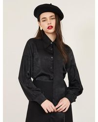 F.COCOROMIZ Unbalance Long Collar Blouse - Black
