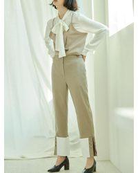 Clue de Clare - Button Turnup Detail Pants-beige - Lyst
