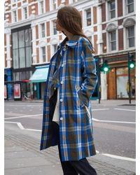 AVA MOLLI - Oscar Mac Check Coat Blue - Lyst