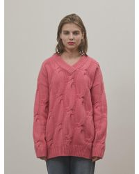 among - A Cable V-neck Knitwear_pink - Lyst