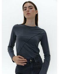 38comeoncommon Long Sleeve Line T-shirt () - Blue