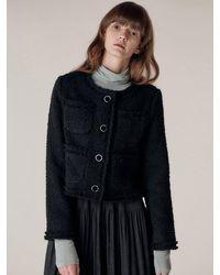 HIDDEN FOREST MARKET Blanc Cropped Tweed Jacket - Black