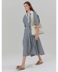 a.t.corner Gingham Check Knit Collar Dress Black (aedr1e005bk)