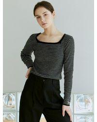 YAN13 Stripe Square Neck Knit Top - Natural
