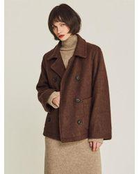 LIUNICK - Short Wool Double Jacket Brown - Lyst