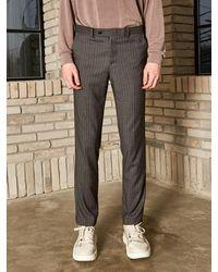 YAN13 Modern Stripe Shed Slacks - Grey