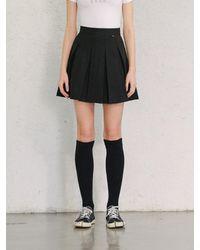 13Month Casual Pleated Mini Skirt Black