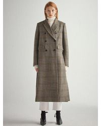 W Concept Olive Check Wool Double Breast Coat Hj007 - Green
