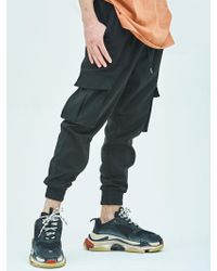 MIGNONNEUF Mnfs Premium Banding Outpocket Cargo Jogger Pants - Black