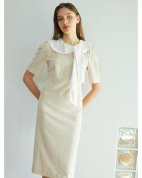 F.COCOROMIZ Collar Romantic Venus Dress (be) - Natural