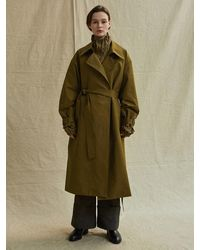 Low Classic |^|double Trench Coat Olive - Green