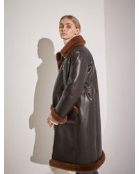COLLABOTORY - Faux Leather Long Shearling Jacket Brown - Lyst