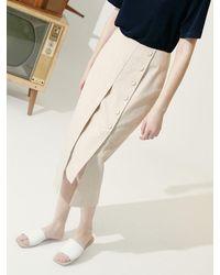 COLLABOTORY Linen Midi Skirt - Natural