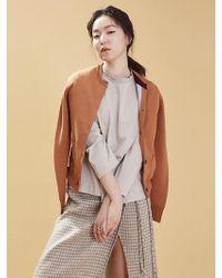 Aheit - Tri-color Wool Gardigan Caramel - Lyst