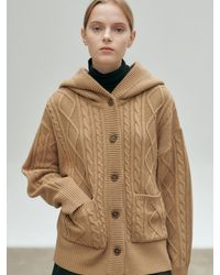 NILBY P Hooded Cable Knit Cardigan - Natural