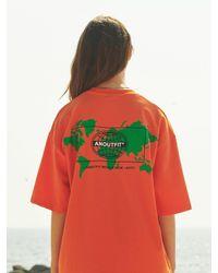 ANOUTFIT Overfit Earth Artwork T-shirt - Orange