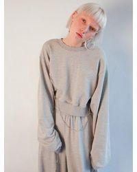 Fleamadonna Cropped Jewellery Pointed Sweatshirt - Grey