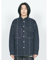 LAYER UNION V-cut Ctrs St Oversized Fit Shirt Ql Navy - Blue
