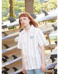 LIBERTENG [unisex] Feather Palm Stripe Shirts - Pink