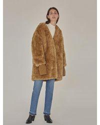 Low Classic - Fake Fur Coat - Mustard - Lyst