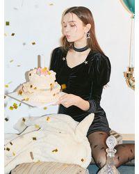 Salon de Yohn Star Point Velvet Dress - Black