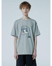 WAIKEI Puppy Dolphin Jumping Oversized T-shirt - Grey