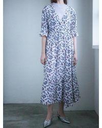 LETQSTUDIO - Floral Print Ruffle Hem Dress Wh - Lyst
