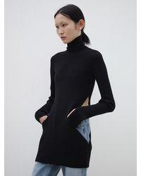 Baby Centaur High Neck Waist Hole Knit Top - Black