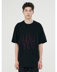 Add Rain Effect Graphic T-shirt - Black