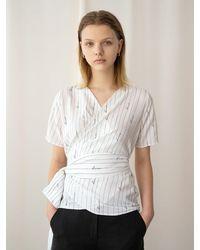 among A Stripe Wrap Blouse - White