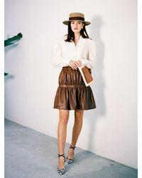 THE ASHLYNN Angel Shirred Leather Skirt - White