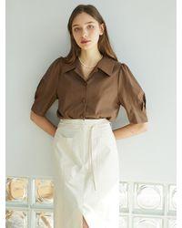 F.COCOROMIZ Romantic Open Collar Blouse (br) - Brown