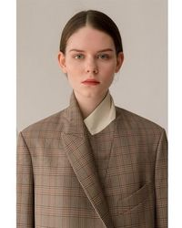 AEER Jacket Glen Check Wool Bg - Natural