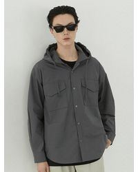 VOIEBIT Cotton Hoodie Shirt Charcoal - Gray