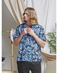 FRIZMWORKS - [unisex] Aloha Half Shirt _ Floral Navy - Lyst