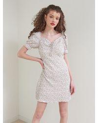 VEMVER Puff Sleeves Daisy Mini Dress - White
