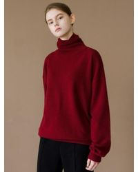 W Concept - Winter High Neck Puff Sleeve Knit Wine - Lyst