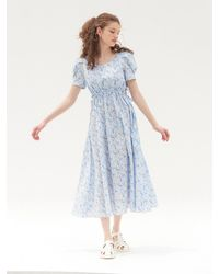 VEMVER Jolie Puff Sleeved Dress - Blue