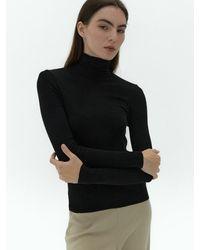 38comeoncommon Soft Slim Turtleneck T-shirts () - Black