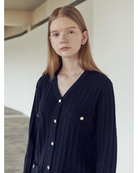 NILBY P - Cable Cardigan Navy - Lyst
